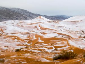 Snow fall in Sahara desert